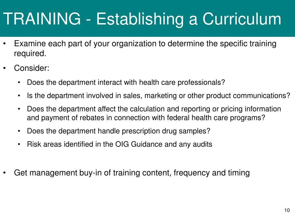 TRAINING - Establishing a Curriculum