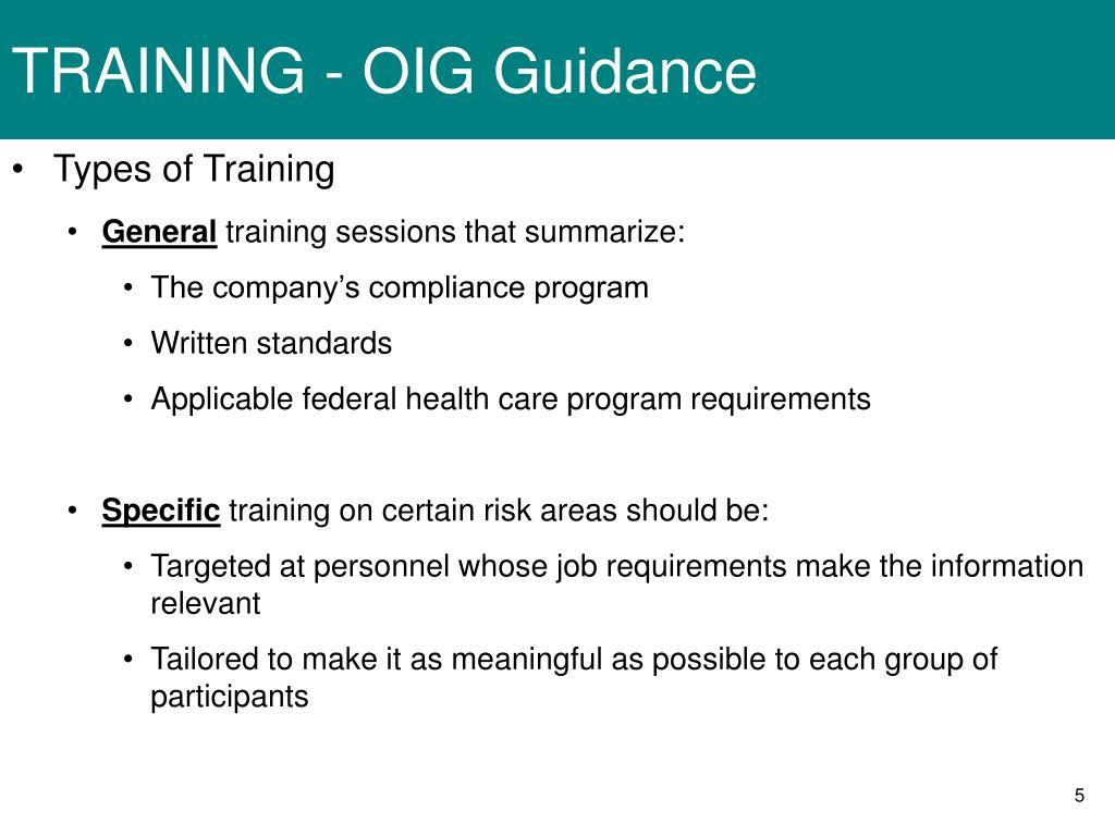 TRAINING - OIG Guidance