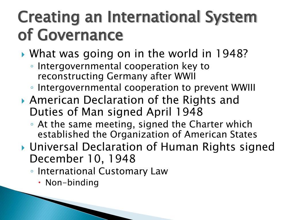 Creating an International System of Governance
