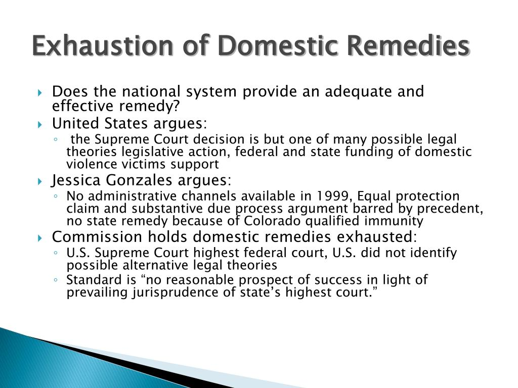 Exhaustion of Domestic Remedies