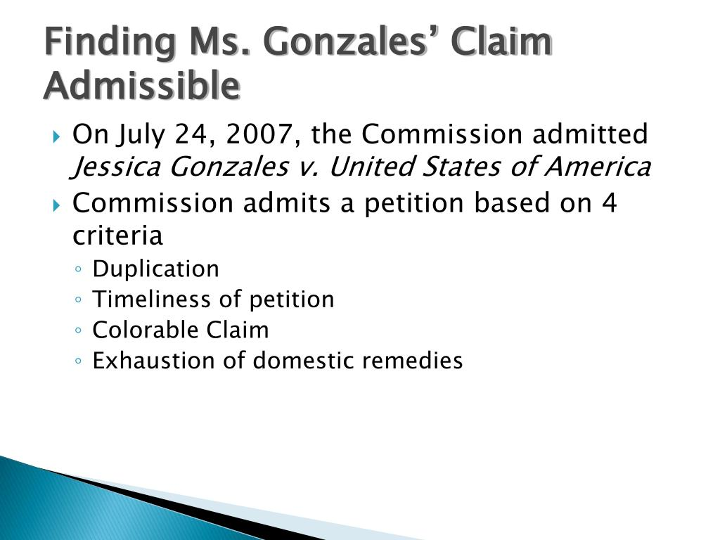 Finding Ms. Gonzales' Claim Admissible
