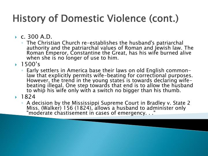 History of domestic violence cont