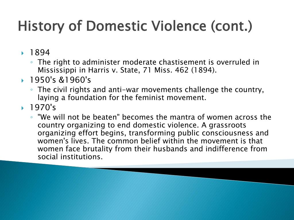 History of Domestic Violence (cont.)