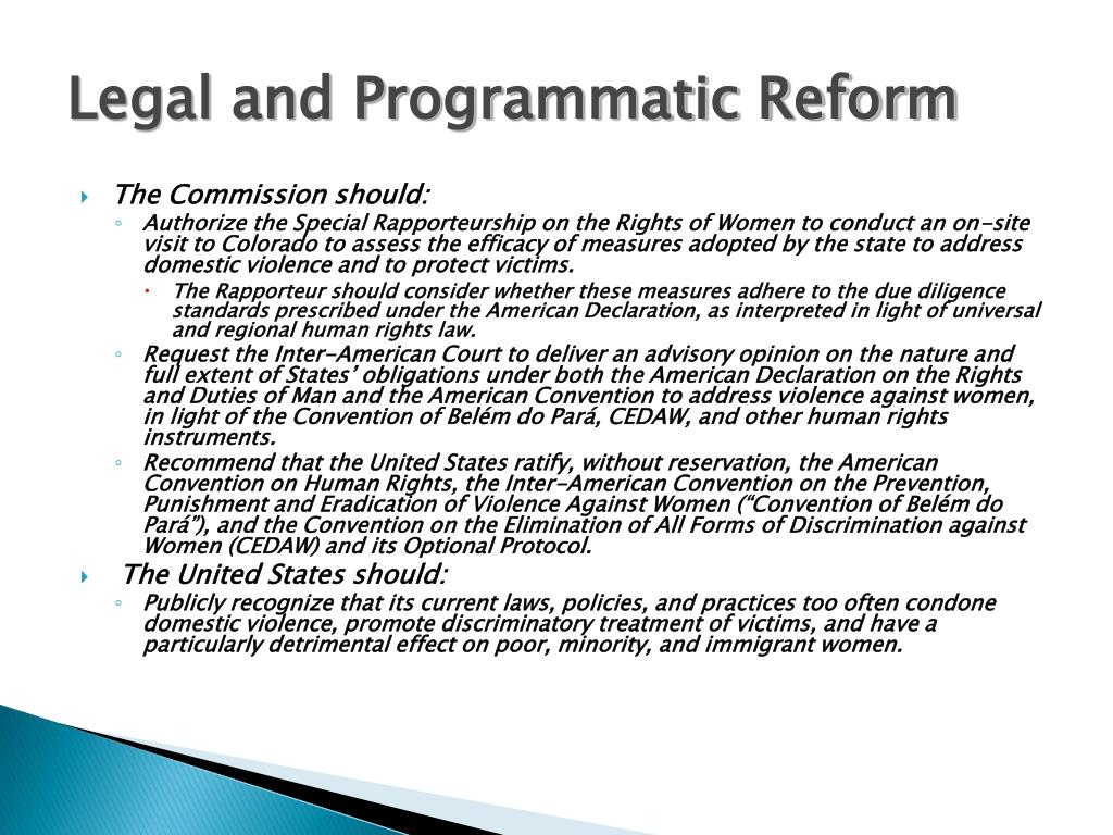 Legal and Programmatic Reform
