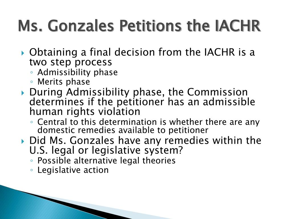 Ms. Gonzales Petitions the IACHR