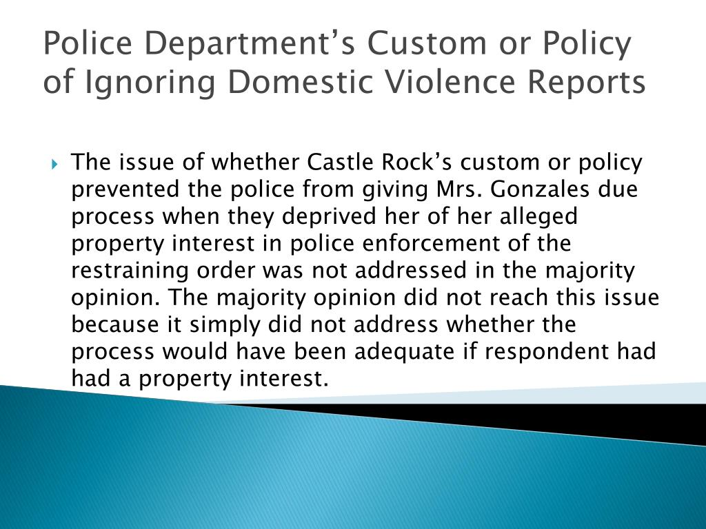 Police Department's Custom or Policy of Ignoring Domestic Violence Reports