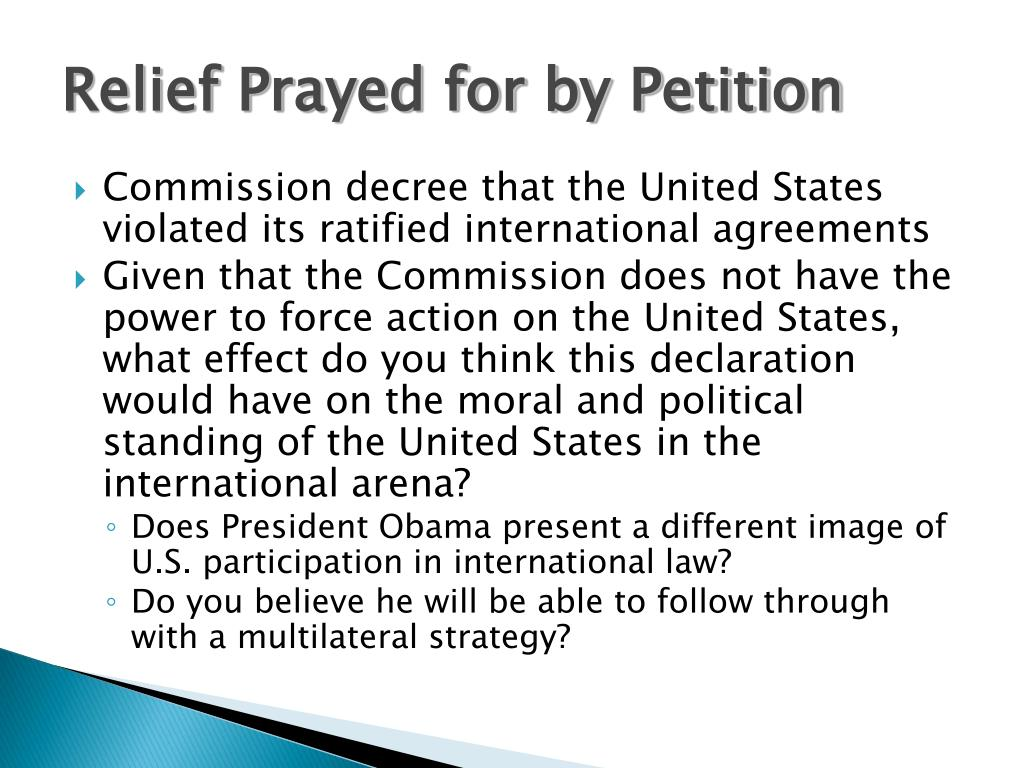 Relief Prayed for by Petition
