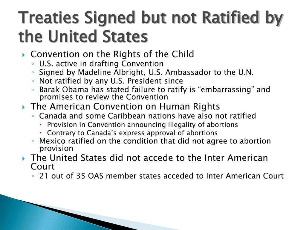 Treaties Signed but not Ratified by the United States
