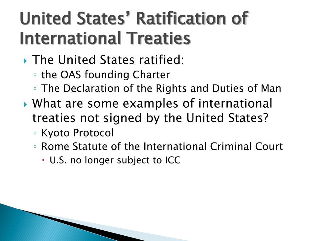 United States' Ratification of  International Treaties