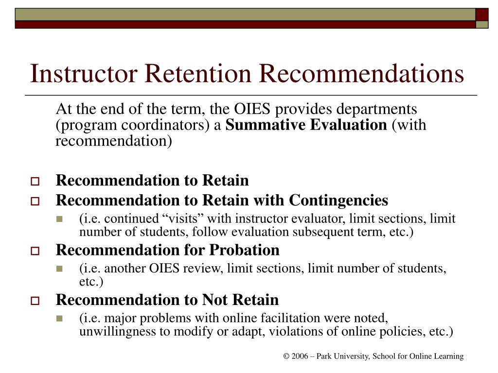 Instructor Retention Recommendations