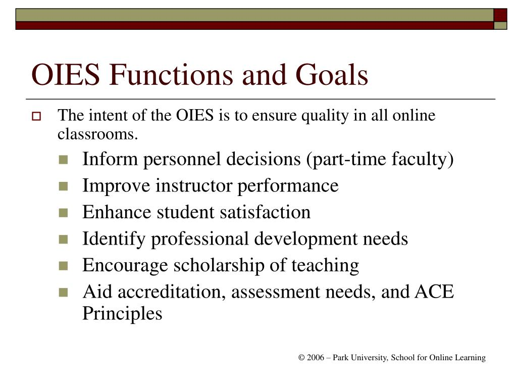 OIES Functions and Goals