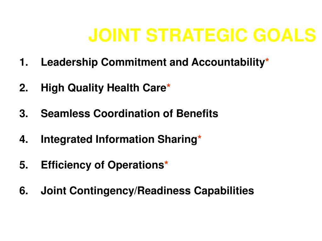 JOINT STRATEGIC GOALS