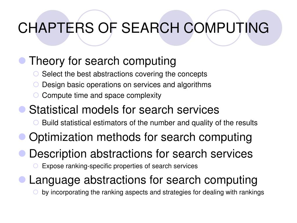 CHAPTERS OF SEARCH COMPUTING