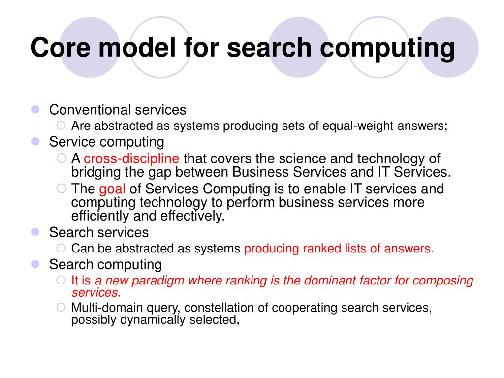Core model for search computing