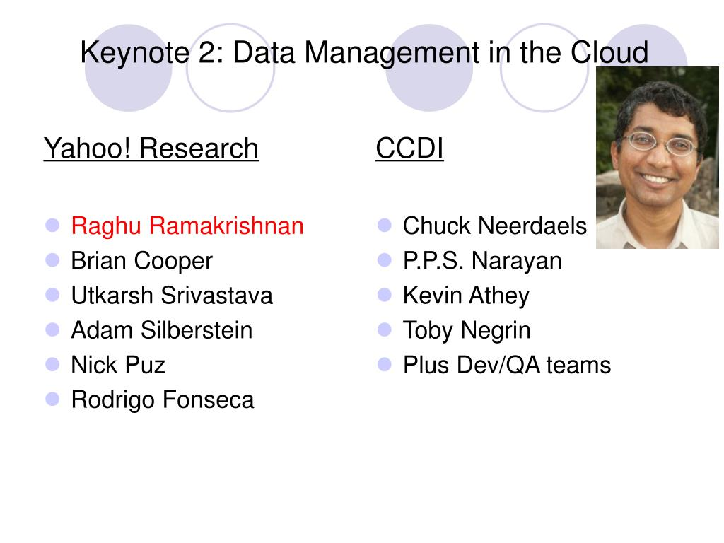Keynote 2: Data Management in the Cloud
