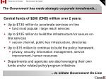 the government has made strategic corporate investments