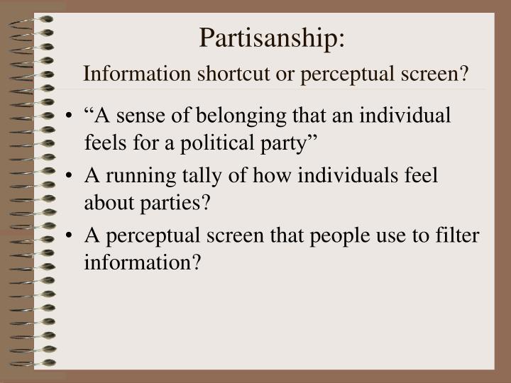Partisanship information shortcut or perceptual screen