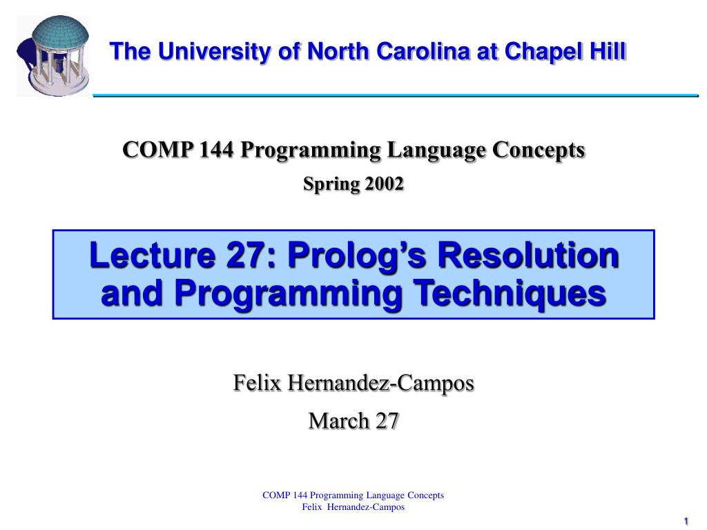 lecture 27 prolog s resolution and programming techniques l.