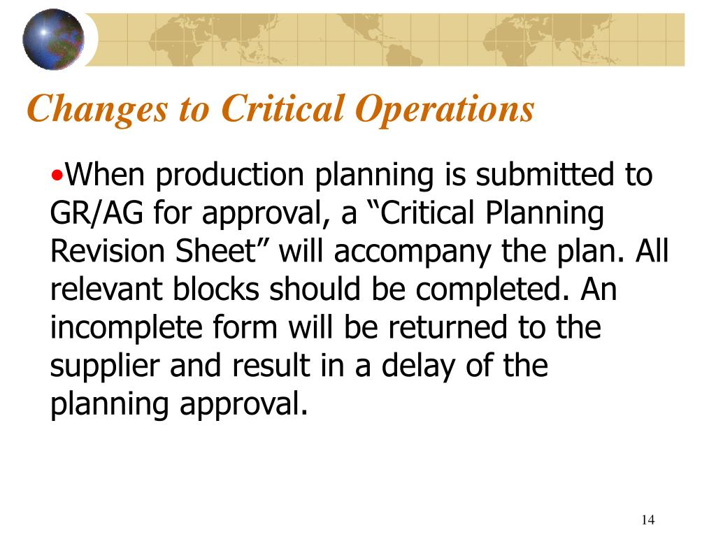 Changes to Critical Operations