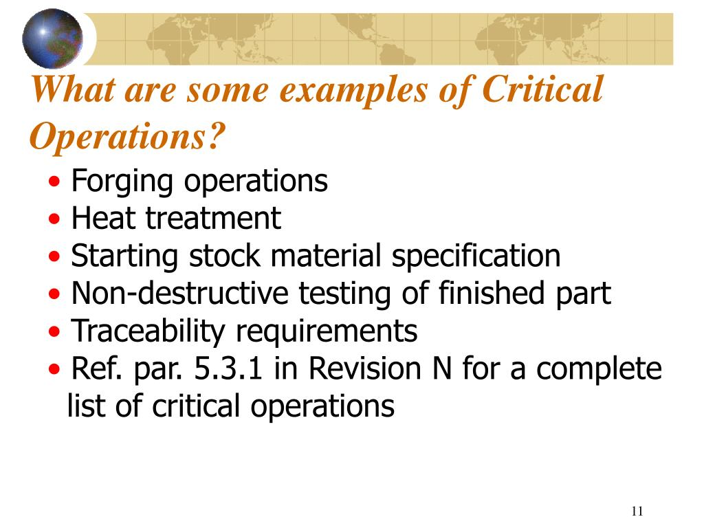 What are some examples of Critical Operations?