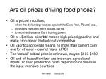 are oil prices driving food prices