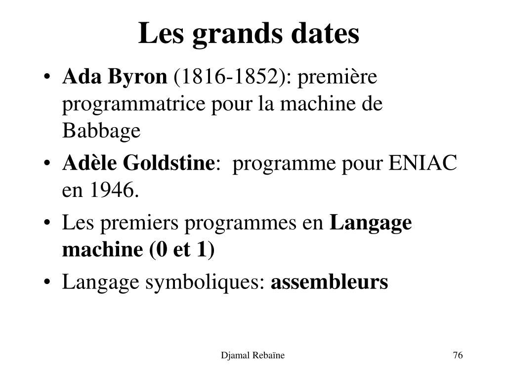 Les grands dates