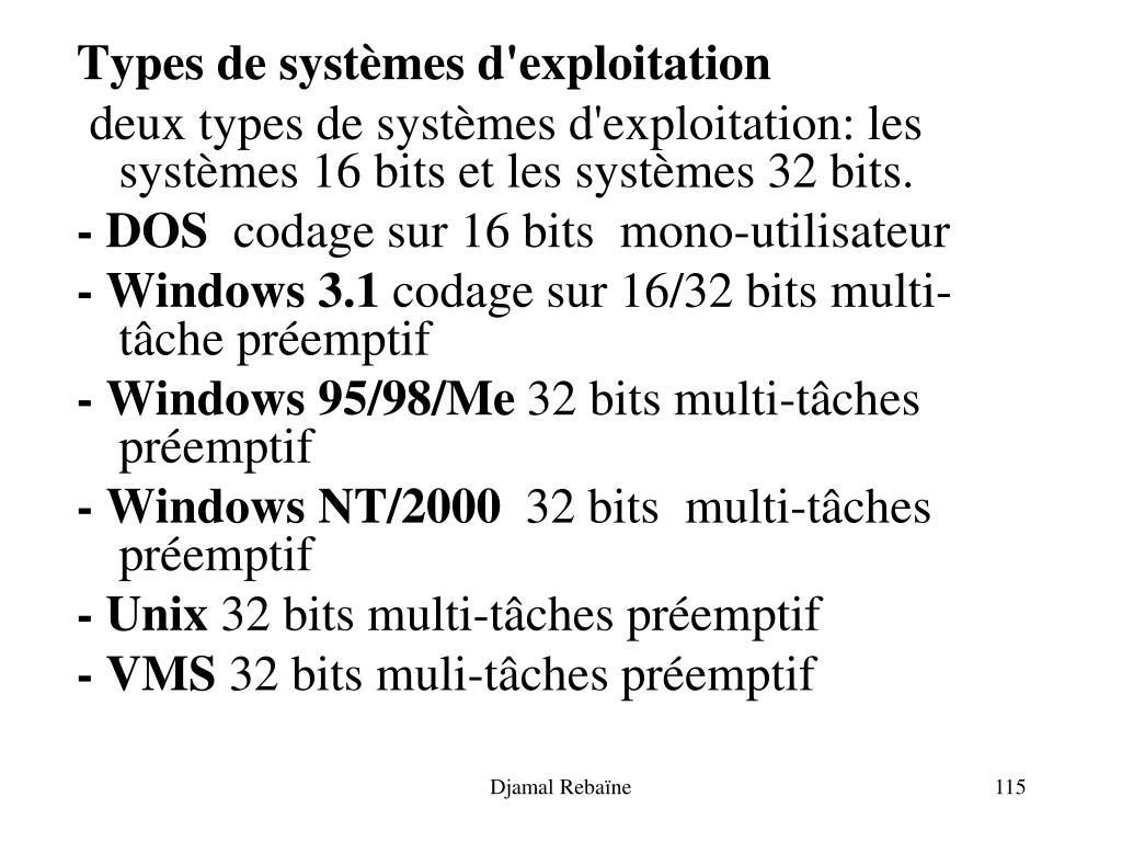 Types de systèmes d'exploitation