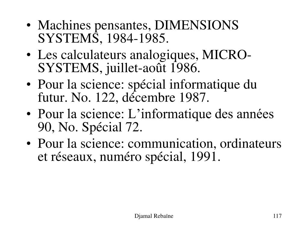 Machines pensantes, DIMENSIONS SYSTEMS, 1984-1985.