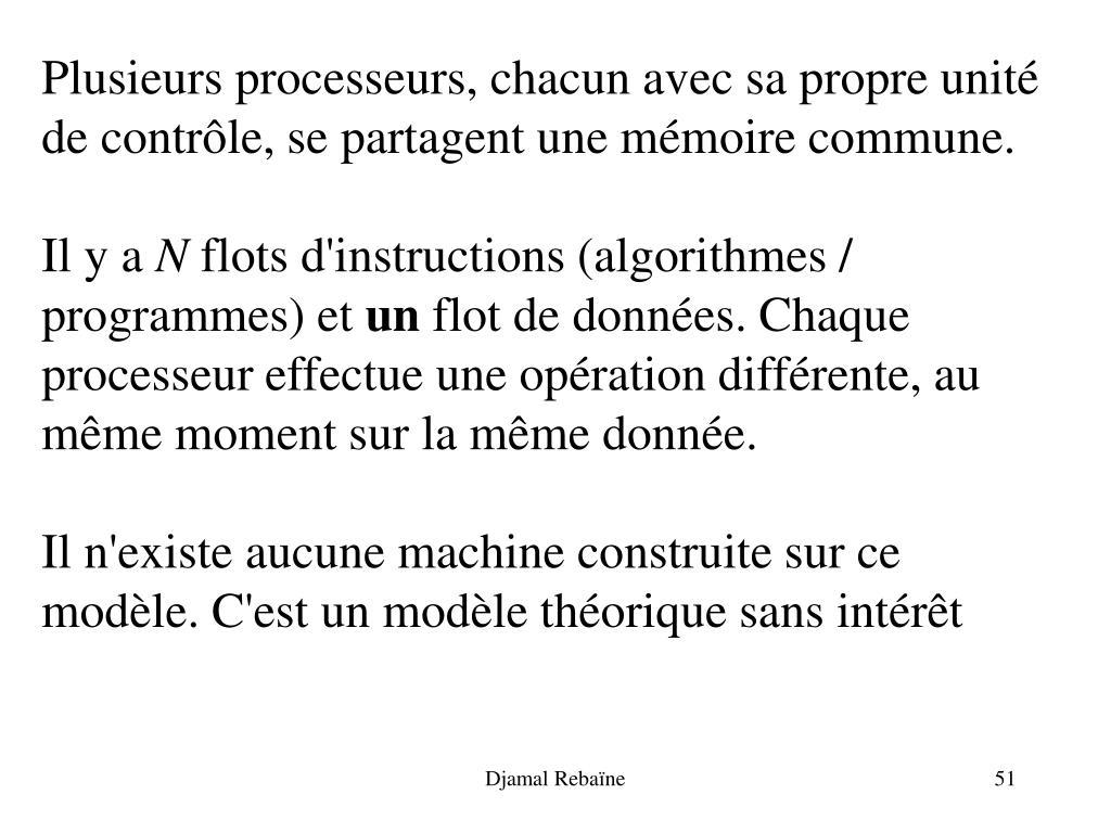 Plusieurs processeurs, chacun avec sa propre unité de contrôle, se partagent une mémoire commune.
