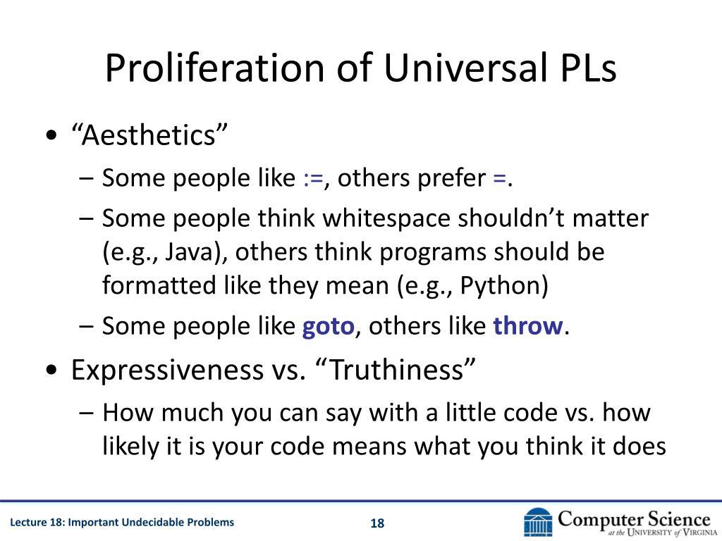 Proliferation of Universal PLs