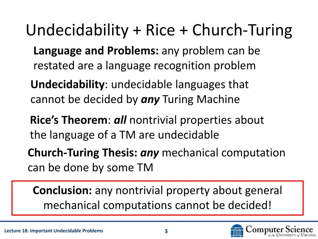 Undecidability + Rice + Church-Turing