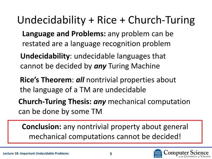 Undecidability rice church turing