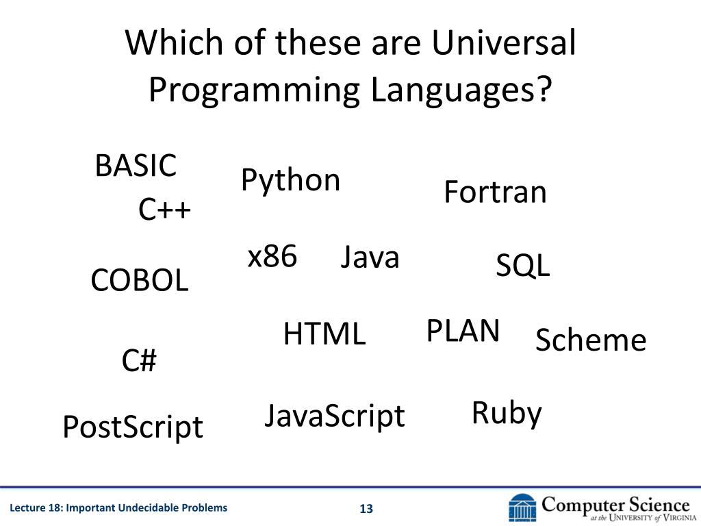 Which of these are Universal Programming Languages?