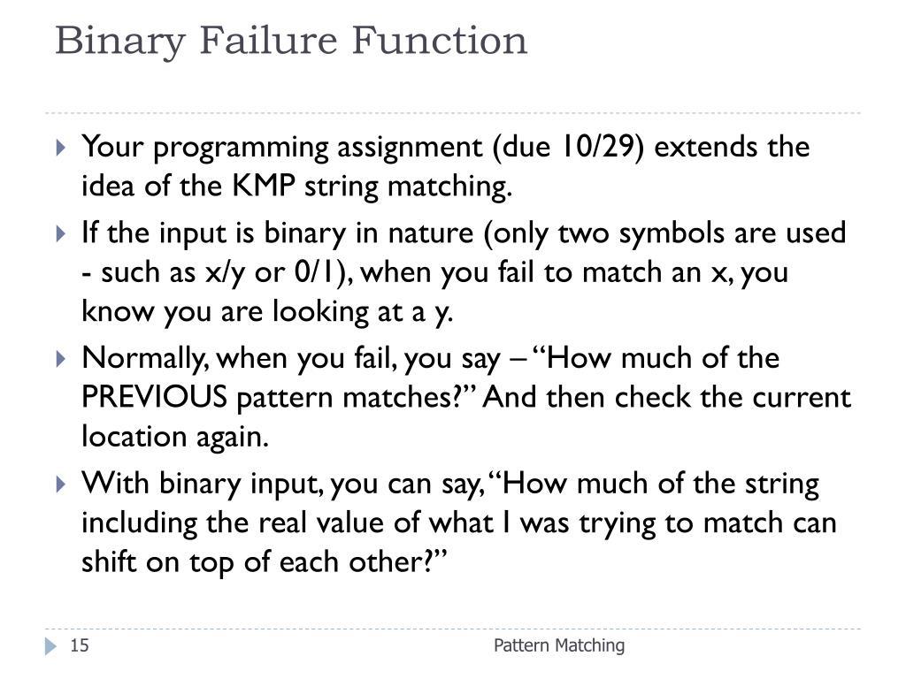 Binary Failure Function
