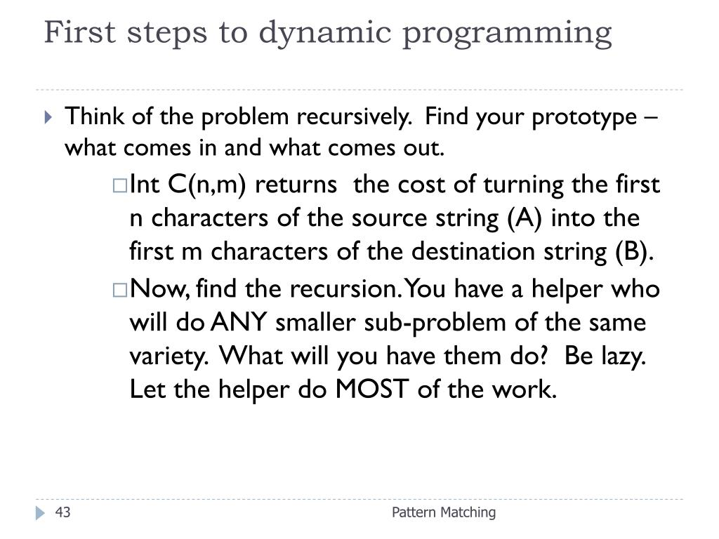 First steps to dynamic programming
