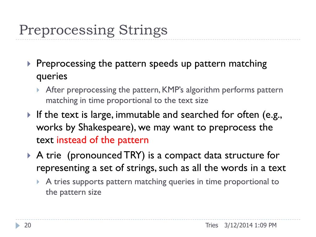 Preprocessing Strings