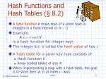 hash functions and hash tables 8 2