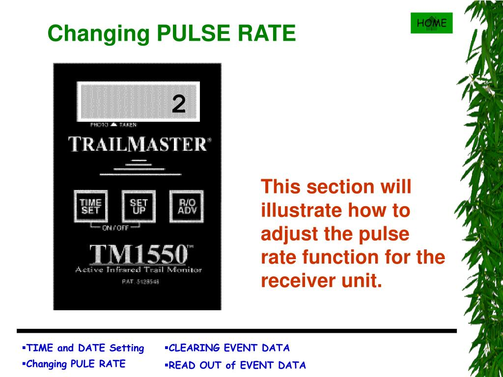 Changing PULSE RATE
