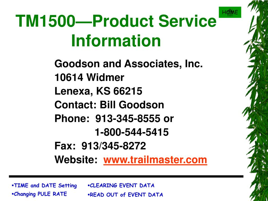TM1500—Product Service Information