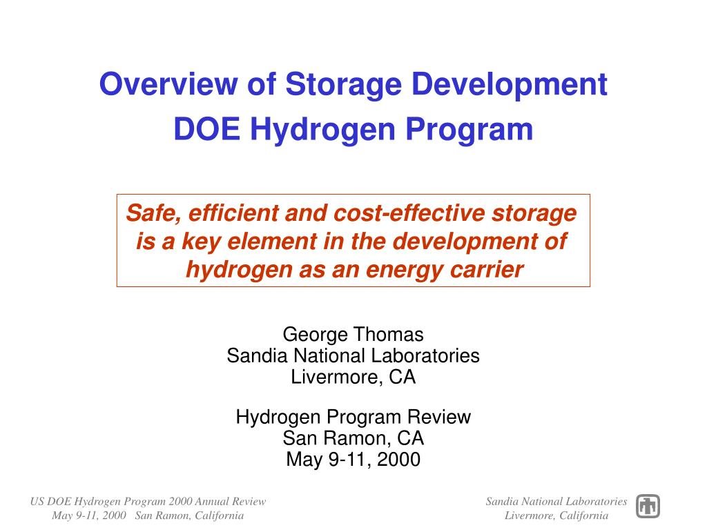 overview of storage development doe hydrogen program l.