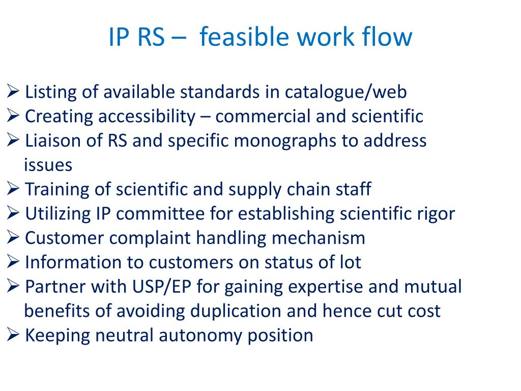 IP RS –  feasible work flow