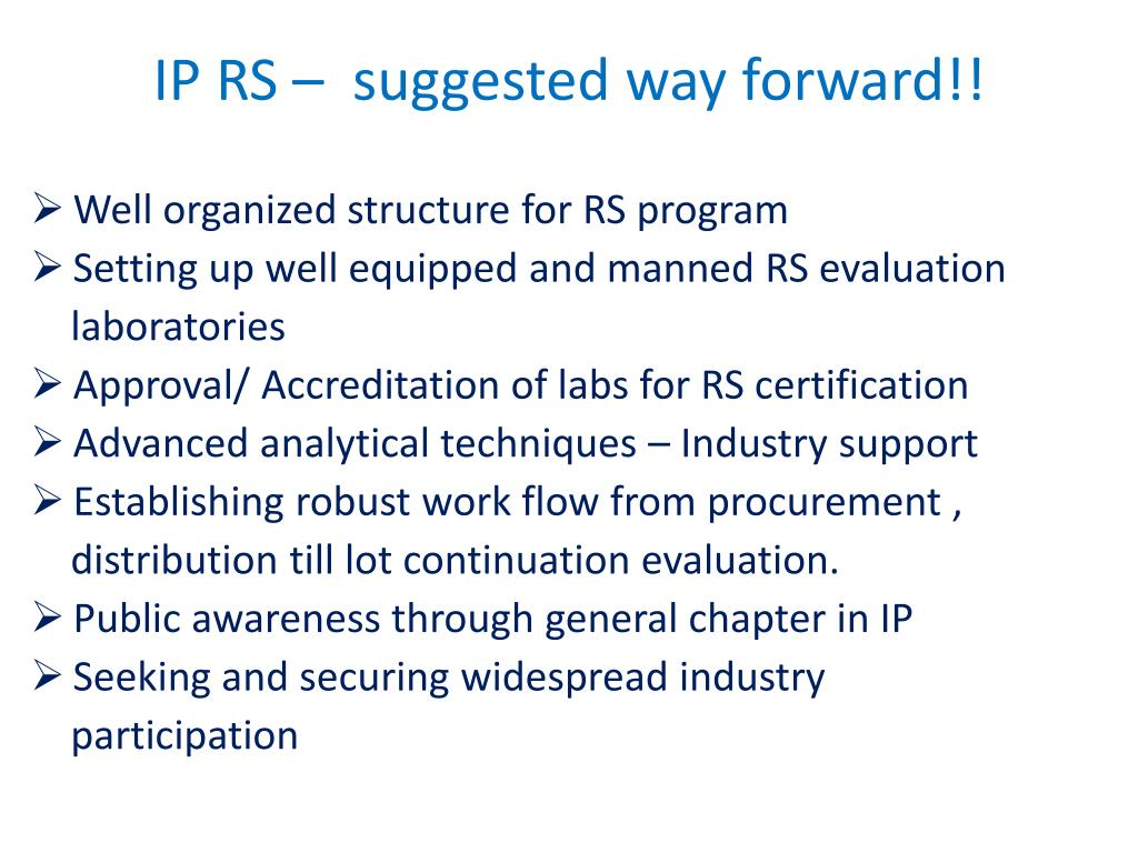 IP RS –  suggested way forward!!