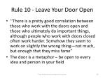 rule 10 leave your door open