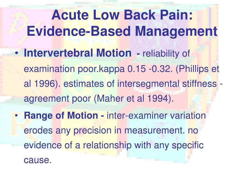 Acute Low Back Pain: