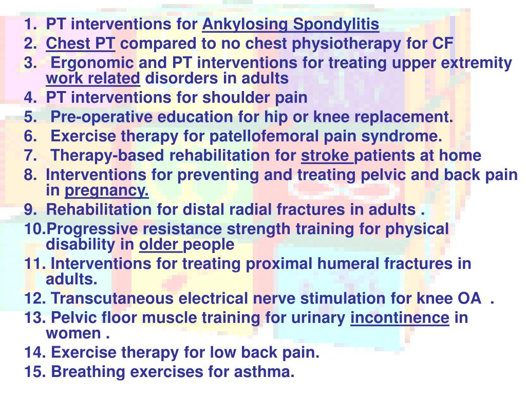 PT interventions for