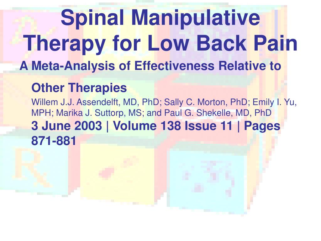 Spinal Manipulative Therapy for Low Back Pain