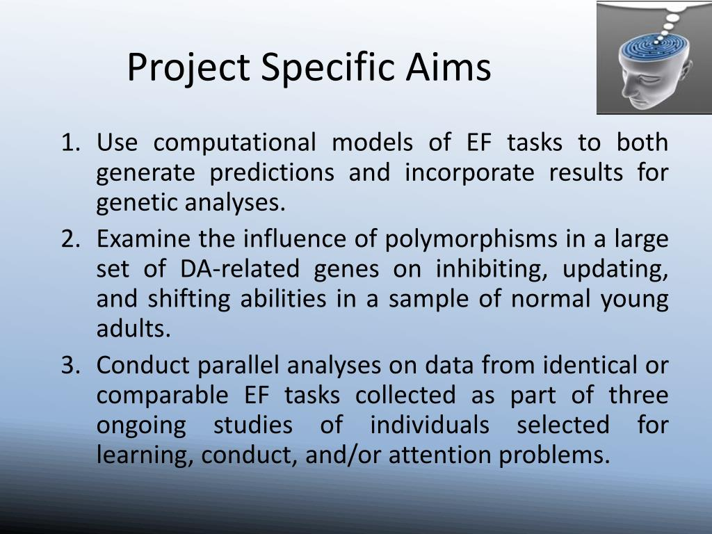 Use computational models of EF tasks to both generate predictions and incorporate results for genetic analyses.