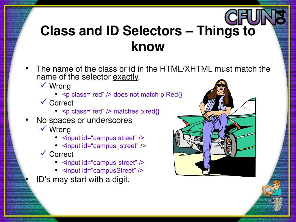 Class and ID Selectors – Things to know