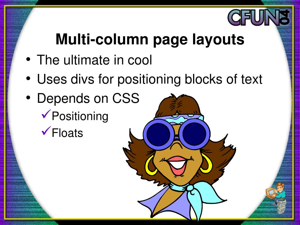 Multi-column page layouts