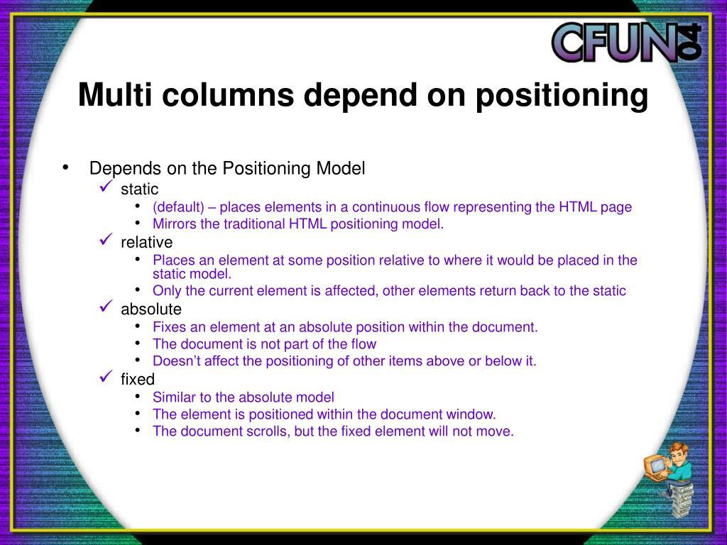 Multi columns depend on positioning